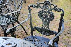 Dokonanego żelaza bistr krzesło i stół Obraz Stock