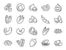 Dokrętek, ziaren i fasoli ikony set, Zawierać ikony jako basil, macierzanka, imbir, pieprz, pietruszka, mennica i bardziej Zdjęcie Stock