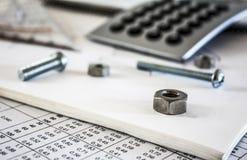 Dokrętka kalkulator śruby i Obrazy Stock