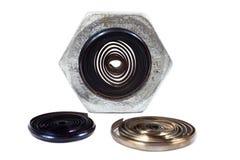 Dokrętka metalu i narzędzia golenia zdjęcia stock