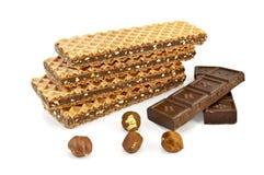 dokrętka czekoladowi gofry Obrazy Stock