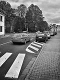 Doksy, Macha ` s土地,捷克共和国- 2016年10月29日:导致从火车站的路交叉点在村庄cen中 图库摄影