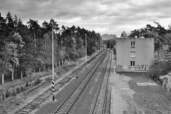 Doksy, tierra del ` s de Macha, República Checa - 29 de octubre de 2016: Siga el número 080 en el ferrocarril Doksy en la región  Imagen de archivo libre de regalías