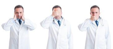 Dokter of arts in drie blind, stod en dove houdingen stock foto's