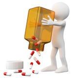 Doktor 3D, der eine Flasche Pillen leert Lizenzfreies Stockbild