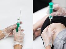 doktor 5 ger den patient injektionssprutan för delen Royaltyfri Bild
