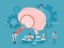 Doktor ?berpr?fen enormes Gehirn Idee der ?rztlichen Behandlung vektor abbildung