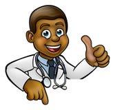 Doktor Cartoon Character Thumbs, das oben unten zeigt Lizenzfreies Stockbild