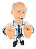 Doktor 3D, der eine Zigarette bricht das Rauchen ist tot stock abbildung