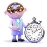 Doktor 3d mit einer Stoppuhr Stockbild