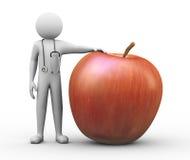 doktor 3d och stort rött äpple Royaltyfria Bilder