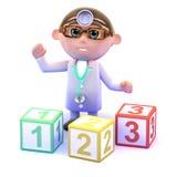 Doktor 3d unterrichtet Mathe Lizenzfreies Stockfoto