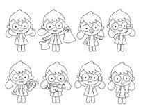 Doktor dargestellt in den verschiedenen Aktionen Vektor Abbildung