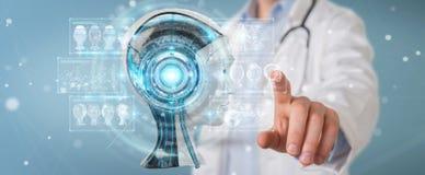 Doktor, der digitale Schnittstelle 3D der künstlichen Intelligenz verwendet, übertragen lizenzfreie abbildung