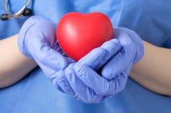 Doktor, der ein Herz hält Stockfoto
