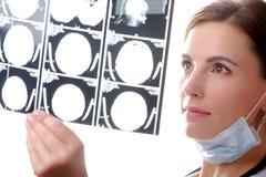 Doktor, der einen Gehirnkatzescan überprüft Lizenzfreie Stockbilder