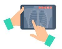 Doktor, der einen Tablet-Computer mit Lungenradiographie hält Telemedi vektor abbildung