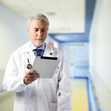 Doktor in der Halle des Krankenhauses Stockbilder