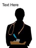 Doktor, der mit Schreibensauflage und -feder aufwirft Lizenzfreie Stockfotos