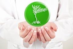 Doktor, der Natursymbol in ihren Händen hält Lizenzfreies Stockfoto