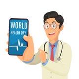Doktor, der Telefon hält und Schirm mit Wörter Weltgesundheitstag zeigt lizenzfreies stockfoto