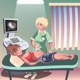 Doktor, der Ultraschall einer schwangeren Frau hält Lizenzfreie Stockbilder