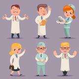 Doktor Different Positions och för Retro Cartoon Design för läkare för handlingteckensymboler fastställd illustration vektor Arkivbild