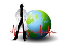 Doktor With Earth und EKG Zeile Lizenzfreie Stockbilder