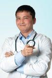 Doktor empfiehlt sich stockfotografie