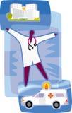Doktor; en ambulans; och ett sjukhus Vektor Illustrationer