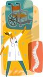 Doktor; en rullstol och en röntgenstråle av ryggmärg Stock Illustrationer