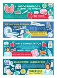 Doktor för medicinsk klinik med baner för diagnostiskt hjälpmedel royaltyfri illustrationer