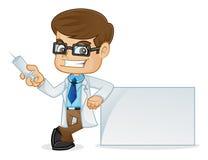Doktor Holding Medical Injection och benägenhet på det vita tecknet royaltyfri illustrationer