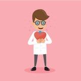 Doktor Holding Red Heart in der Hand Gesundheitswesen-Konzept-Vektor-Illustrations-flache Art Stockfotos