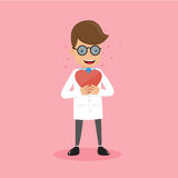 Doktor Holding Red Heart i hand Stil för lägenhet för illustration för sjukvårdbegreppsvektor Arkivfoton