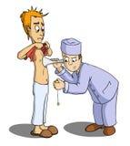 Doktor hören das Innere des Patienten Lizenzfreie Stockbilder