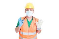 Doktor, läkare eller byggmästare eller konstruktörjobb Arkivfoton