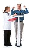 Doktor: Mann macht Gewichtsverlust-Ziel stockbilder