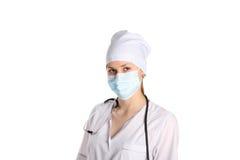 Doktor With Mask und Stethoskop Stockfotografie