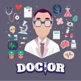 Doktor med beståndsdelar tecken - Arkivbild