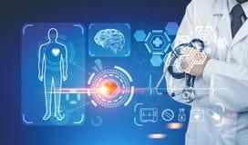 Doktor med en stetoskop, medicinska symboler, HUD Royaltyfri Bild