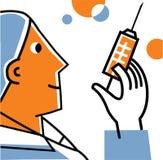 Doktor med injektionssprutan Vektor Illustrationer