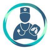 Doktor med stetoskophjälpmedlet röntgen- sjuka lungor vektor illustrationer