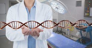Doktor med tråden för DNA 3D Arkivbilder