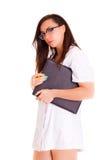Doktor medisch personeel op witte achtergrond Royalty-vrije Stock Foto's