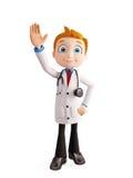 Doktor mit dem Sagen hallo von Haltung stock abbildung