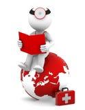 Doktor mit einem Buch, das auf roter Erdekugel sitzt Lizenzfreie Stockfotos