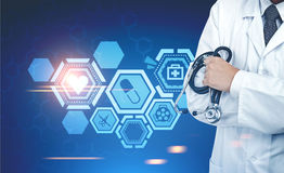 Doktor mit einem Stethoskop, medizinische Ikonen Stockbilder