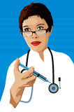 Doktor mit einer Spritze stockfotos