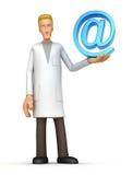 Doktor mit eMail lizenzfreie abbildung